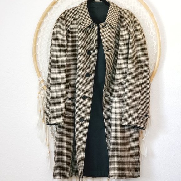 Burberry Wool Trench Reversible Houndstooth Coat